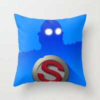 iron giant Throw Pillows featuring iron giant by designoMatt