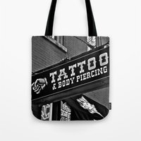 tattoos Tote Bags featuring Tattoos Here by Biff Rendar