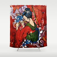geisha Shower Curtains featuring Geisha by Spooky Dooky