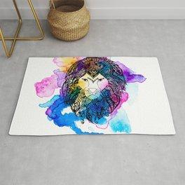 Modern watercolor mandala lion illustration Rug