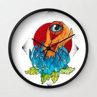 hamsa Wall Clocks featuring Hamsa by missfortunetattoo