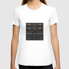 Golden Sun Mandala Ruby Flowr over BlackMarble T-shirt