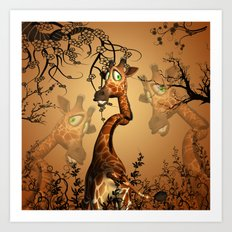 Cute giraffe Art Print