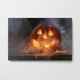 Haunted Halloween Pumpkin Metal Print