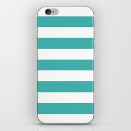 Verdigris - solid color - white stripes pattern iPhone Skin