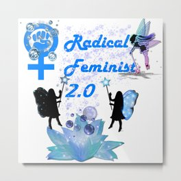Radical Feminist 2.0 Blue Metal Print