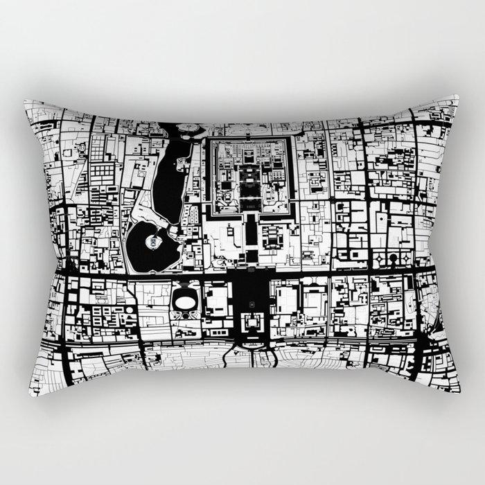 Beijing city map black and white Rectangular Pillow