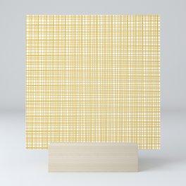 Fine Weave Retro Modern Mid-Century Pattern in Mustard Yellow and White Mini Art Print