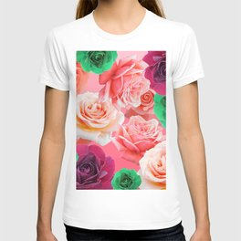 Multi Colored Roses - Green Pink Dark Red T-shirt
