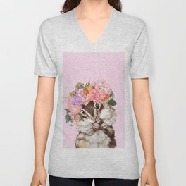 Baby Squirrel with Flowers Crown in Pink Unisex V-Neck