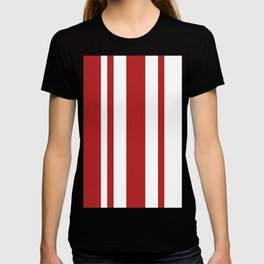 Mixed Vertical Stripes - White and Firebrick Red T-shirt