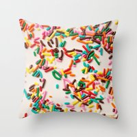 sprinkles Throw Pillows featuring Sprinkles  by Laura Ruth
