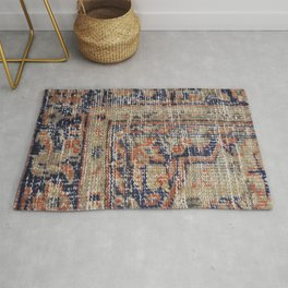 Vintage Woven Navy Blue and Tan Kilim  Rug