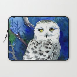 Snowy Owl, Northern Owl, White Owl, Owl art Winter woodland Laptop Sleeve