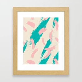 Pink and turquoise abstract Framed Art Print