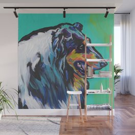 fun ROUGH COLLIE bright colorful Pop Art painting by Lea Wall Mural