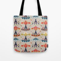 damask Tote Bags featuring carousel damask by Sharon Turner