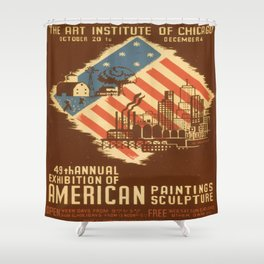 Vintage poster - American Paintings & Sculpture Shower Curtain