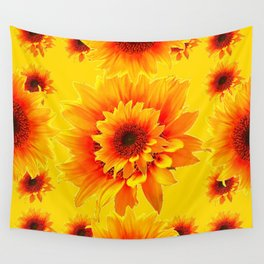 Golden Yellow Abstracted Red Sunflower Patterns Wall Tapestry