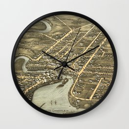 Vintage Pictorial Map of Plattsburgh NY (1877) Wall Clock