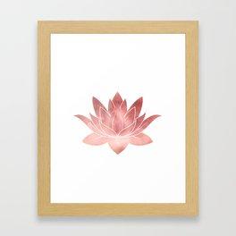 Pink Lotus Flower | Watercolor Texture Framed Art Print