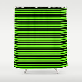 Bright Green and Black Horizontal Var Size Stripes Shower Curtain