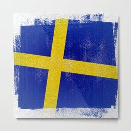 Swedish Distressed Halftone Denim Flag Metal Print
