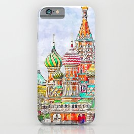 Moscow Russia Watercolor iPhone Case
