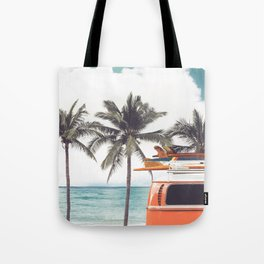 Red surf van Tote Bag