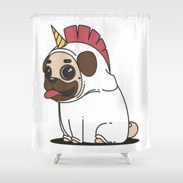 The Elusive Pugicorn Shower Curtain