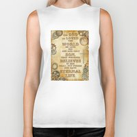 bible verse Biker Tanks featuring Steampunk Bible Verse For God So Loved the World by Whimsy and Nonsense