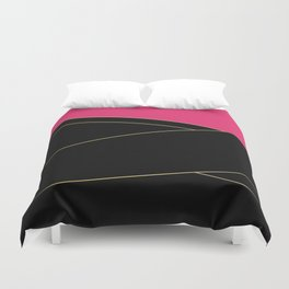 Angelica . Raspberry , black Duvet Cover