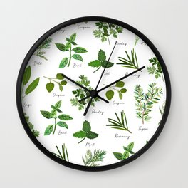 Culinary Herbs Wall Clock