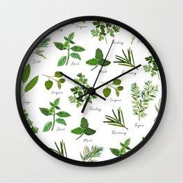 Culinary Herbs Wall Clock