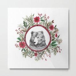oso navidad Metal Print