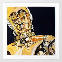 c3po Art Prints featuring C3PO by Laura-A