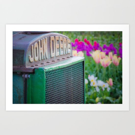 John Deere in the Tulips Art Print
