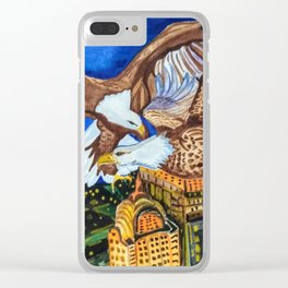 Bald Eagles in Love above Night New York City Clear iPhone Case