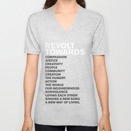 Revolt Towards (White) Unisex V-Neck