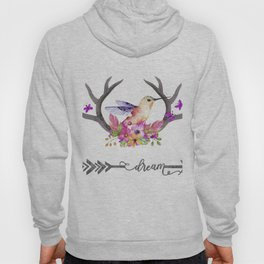 Hummingbird on floral Antlers and Dream arrow Hoody