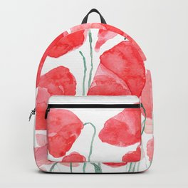 abstract red poppy field watercolor Backpack