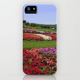 Floral patchwork under a blue sky iPhone Case