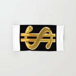 Gold Dollar Sign Black Background Hand & Bath Towel