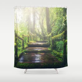 Green Jungle Forest Path Shower Curtain