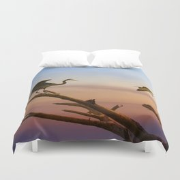 Heron And Osprey At Sunset Duvet Cover