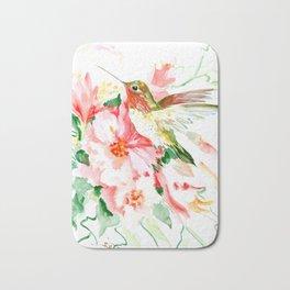 Hummingbird, Hawaiian Design, Hibiscus and Hummingbird Bath Mat