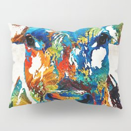 Colorful Cow Art - Mootown - By Sharon Cummings Pillow Sham