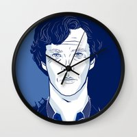 benedict cumberbatch Wall Clocks featuring Sherlock I - Benedict Cumberbatch by Pri Floriano