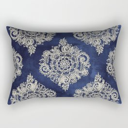 Cream Floral Moroccan Pattern on Deep Indigo Ink Rectangular Pillow