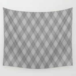 Argyle Fabric Pattern - Graphite Silver Gray / Grey Wall Tapestry